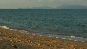 Panorama- landskap med havsvågor på stranden i aftonen arkivfilmer