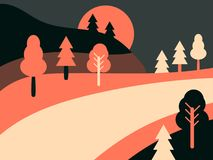 Panorama- landskap med huvudvägen Retro landskap för landsväg Plan stil vektor vektor illustrationer
