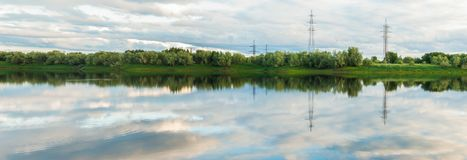 Panorama of the Langepas channel, the tributary of the Ob River. Stock Photo
