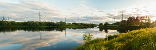 Panorama of the Langepas channel, the tributary of the Ob River. Royalty Free Stock Photos