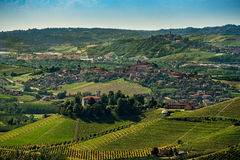 Panorama of langhe region in summer in northerni Italy Stock Image