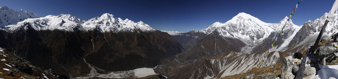 Panorama of the Langtang Valley. Stock Photos