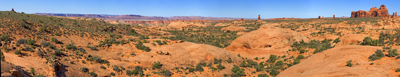 Panorama of Lanscape in Arches National Park Royalty Free Stock Photography