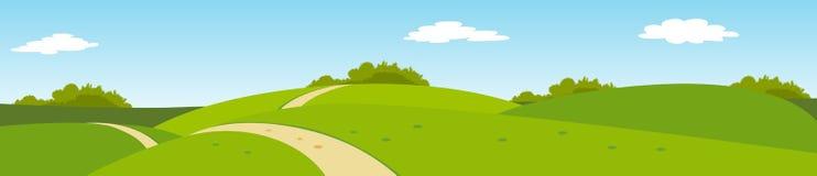 Panorama- lantligt landskap för sommar Arkivfoton
