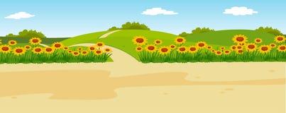Panorama- lantligt landskap för sommar Arkivbilder