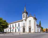 Panorama of the Lapa Chapel - a Sacred Art Museum (right), and the Lusiada University branch (left). In Vila Nova de Famalicao, Portugal royalty free stock photo