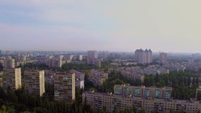 Panorama of large city, rooftops in residential area, aerial. Stock footage stock video