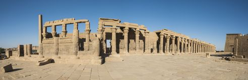 Panorama of large columns at an ancient egyptian temple royalty free stock photo