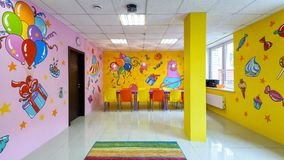 Panorama of the large hall for children`s parties. Moscow - June 24, 2014: Panorama of the large hall for children`s parties. Colorful interior of the children`s Royalty Free Stock Photos
