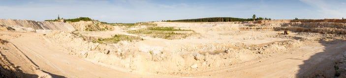 Panorama   large quarry limestone ore Stock Image