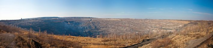 Panorama of a large quarry stock image