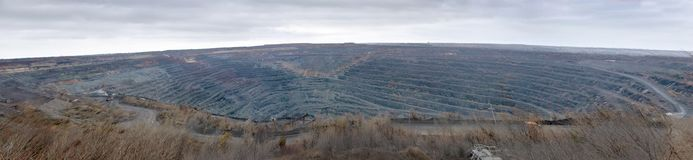 Panorama of the quarry for the extraction of iron ore Stock Photo