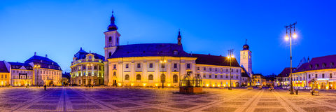 Panorama large square in Sibiu Stock Image