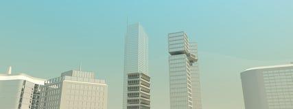 Panorama largo da skyline da cidade ilustração stock