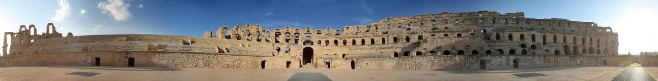 Panorama largo del Amphitheatre del EL Djem Foto de archivo libre de regalías