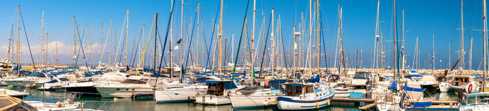 Panorama of Larnaca marina. Cyprus Stock Photos