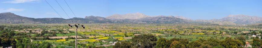 Panorama of the Lasithi Plateau. Crete Royalty Free Stock Photography