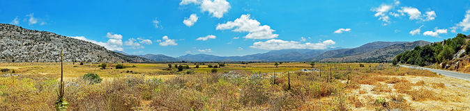 Panorama of the Lasithi Plateau on Crete island in Greece Royalty Free Stock Photography