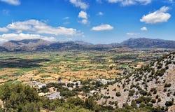 Panorama Lasithi plateau na Crete wyspie w Grecja obraz stock