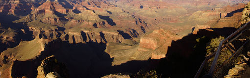 Panorama, late afternoon view into the Colorado River gorge Royalty Free Stock Photos