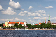 Panorama of the Latvian capital Riga on a summer day with ships Stock Photography