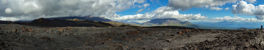 Panorama of lava field volcanic eruption active Plosky Tolbachik Volcano, Klyuchevskaya Group of Volcanoes Royalty Free Stock Image
