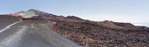 Panorama of lava pattern of Pico Viejo in Tenerife Island Royalty Free Stock Photo