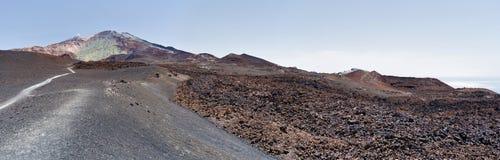 Panorama of lava pattern of Pico Viejo in Tenerife Island Royalty Free Stock Photo