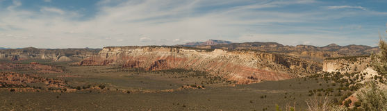 Panorama of layers in desert cliff Royalty Free Stock Images
