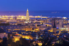 Panorama of Le Havre at night Stock Photos