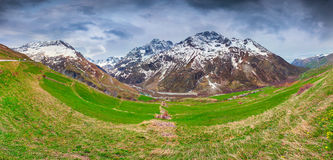 Panorama from the Le Lautaret Pass, Ecrins, France. royalty free stock photo