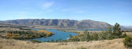 Panorama - le long de la route au cuisinier de Mt, Nouvelle Zélande Photos stock