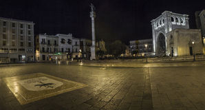 Panorama lecce by night roman temple Stock Photo