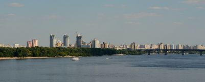 Panorama of the left bank of Kiev Royalty Free Stock Image