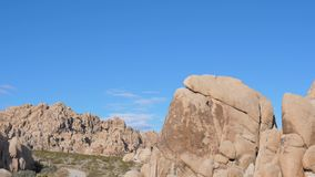 Panorama From Left To Right Of The Big Rocks In Joshua Tree National Park USA. Panorama from left to right. Area with rounded rocks and huge stones, sandy-Golden stock footage