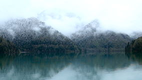 Panorama left-to-right Ritsa lake in the spring morning stock video footage