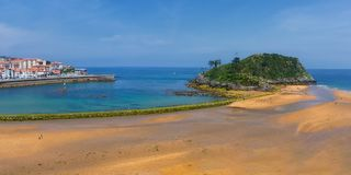 Panorama of Lekeitio village and San Nikolas island surroinding Royalty Free Stock Photography
