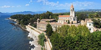 Lerins Abbey panorama, France. Panorama of Lerins Abbey, Ile Saint-Honorat near Cannes, France Royalty Free Stock Photography