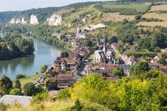Panorama Les Andelys, Normandie, Francja obraz royalty free