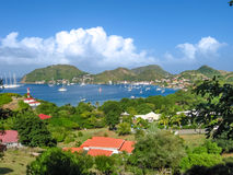Panorama of Les Saintes. Spectacular overlook of bay of Anse du Bourg in Terre-de-Haut, considered the third bay in the world for beauty. Archipelago of Les Royalty Free Stock Photo