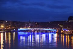 Panorama of Liege along Meuse River Royalty Free Stock Images