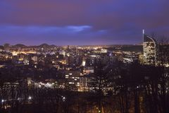 Panorama of Liege at night Royalty Free Stock Images