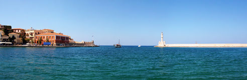 Panorama with light house in Chania Stock Images