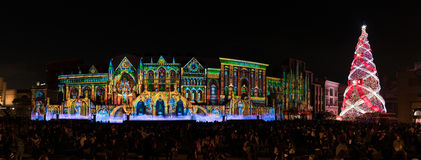 Panorama of light show and Christmas tree. In Universal Studios Japan royalty free stock photos