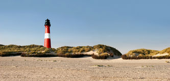 Panorama of a lighthouse at the beach Royalty Free Stock Photography