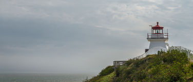 Panorama of lighthouse (Cape Enrage) Stock Image