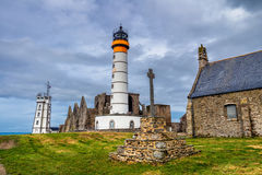 Panorama of lighthouse and ruin of monastery, Pointe de Saint Ma Royalty Free Stock Image