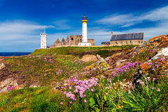 Panorama of lighthouse and ruin of monastery, Pointe de Saint Ma Stock Image