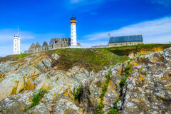 Panorama of lighthouse and ruin of monastery, Pointe de Saint Ma Stock Photography
