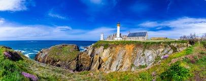 Panorama of lighthouse and ruin of monastery, Pointe de Saint Ma Stock Photo